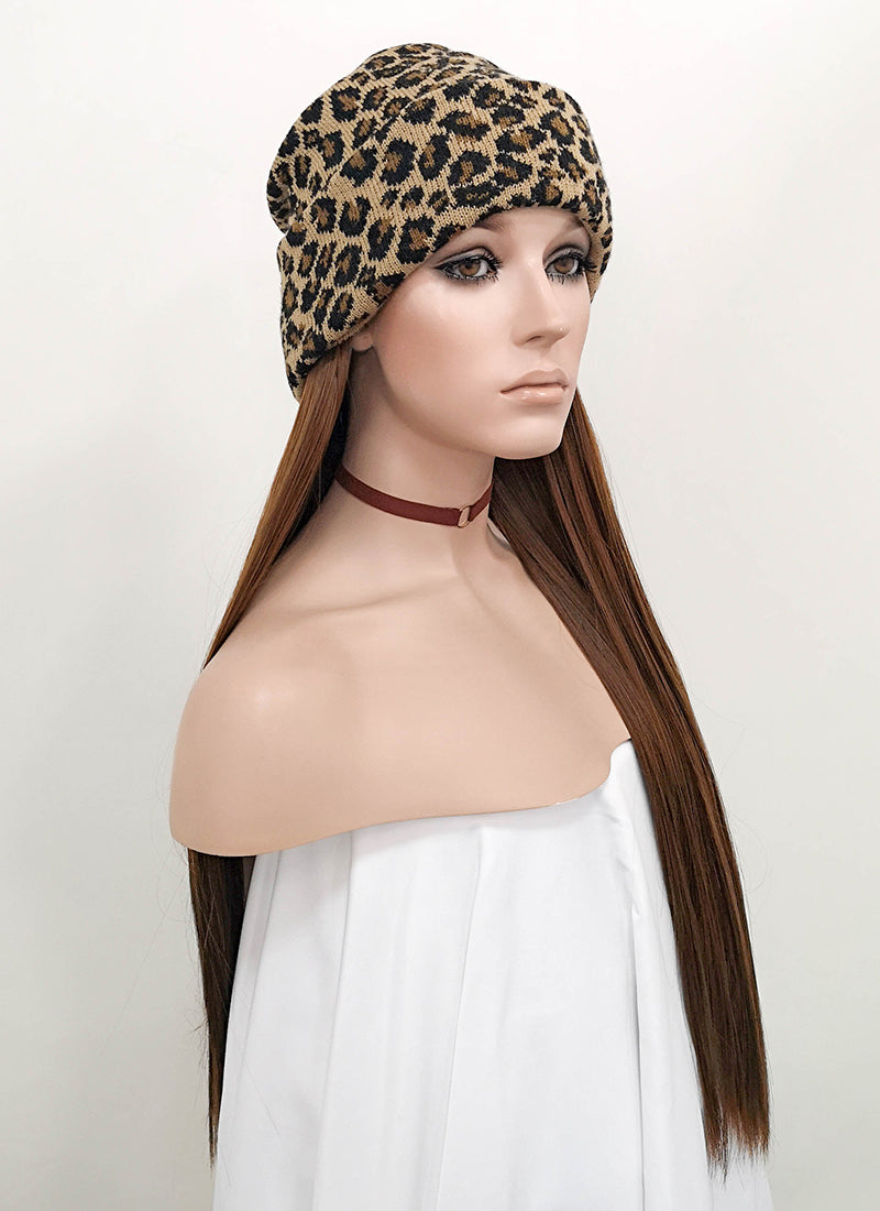 Leopard Beanie With Straight Brown Hair Attached CW010 - Wig Is Fashion