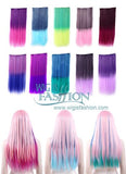 Straight Multi-Color Dip Dye Style Clips On Hair Piece Hair Extension FP001