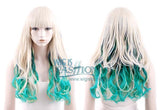 Long Curly Blue / Purple / Pink / Green Clip On Hair Piece Hair Extension FP002