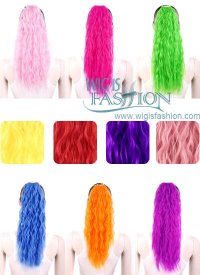 Long Wavy Orange / Pink / Blonde / Green Clip On Hair Piece Hair Extension FP004