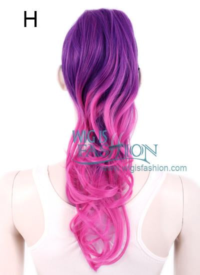 Wavy Purple / Blue / Magenta Clip On Hair Piece Hair Extension FP005