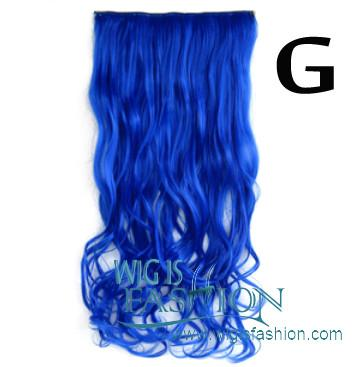 Wavy Pink / Blue / Brown / Blonde / Red Clip On Hair Piece Hair Extension FP014 - Wig Is Fashion