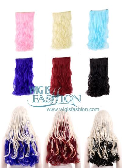 Wavy Pink / Blue / Brown / Blonde / Red Clip On Hair Piece Hair Extension FP014