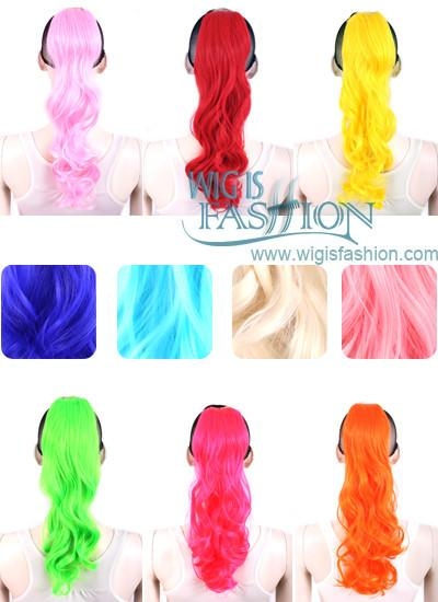 Wavy Pink / Red / Blonde / Orange / Blue Clip On Hair Piece Hair Extension FP019