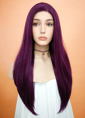 Straight Dark Purple Lace Front Synthetic Wig LF029 - Wig Is Fashion