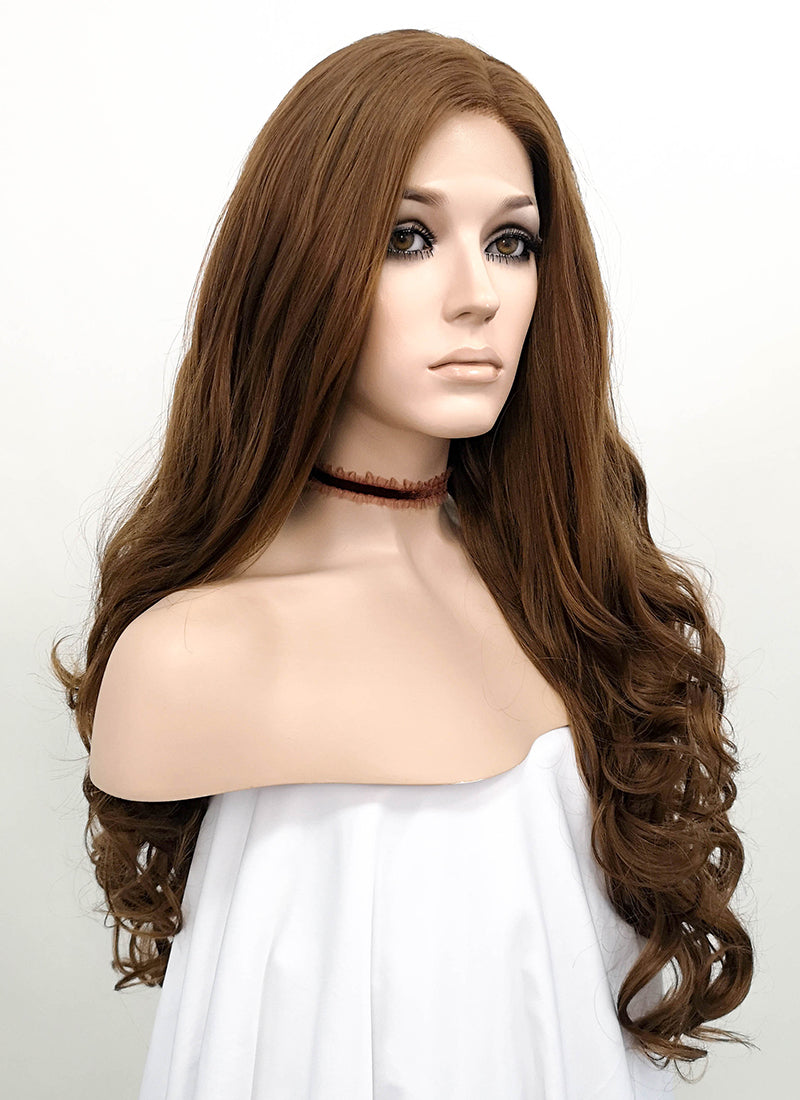 Wavy Brown Lace Front Synthetic Wig LF075 - Wig Is Fashion