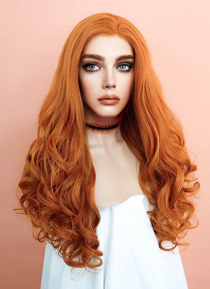 Light Auburn Wavy Lace Front Synthetic Wig LF085E - Wig Is Fashion