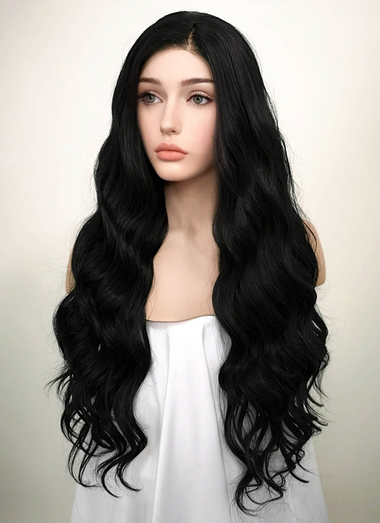 "24"" Wavy Jet Black Lace Front Synthetic Wig LF094 - Wig Is Fashion"