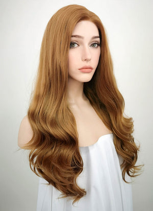 Chestnut Brown Wavy Lace Front Synthetic Wig LF109 - Wig Is Fashion