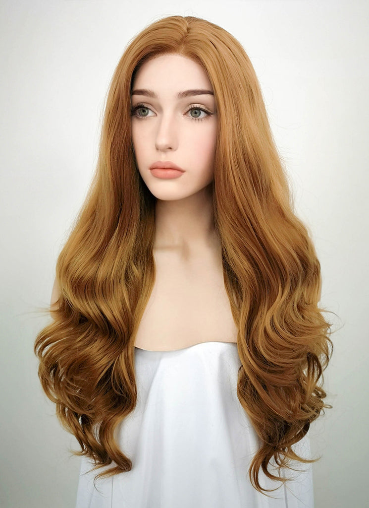 "24"" Wavy Golden Brown Lace Front Synthetic Wig LF109 - Wig Is Fashion"