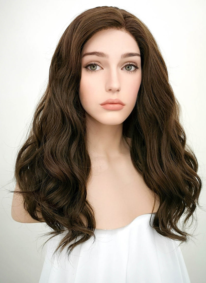 Dark Brown Wavy Lace Front Synthetic Wig LF1265 - Wig Is Fashion