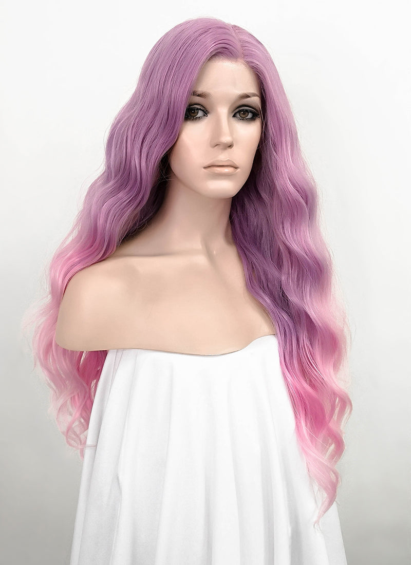 Purple Pink Ombre Wavy Lace Front Synthetic Wig LF1285