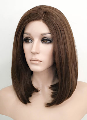 Brunette Straight Bob Lace Front Synthetic Wig LF1295 - Wig Is Fashion
