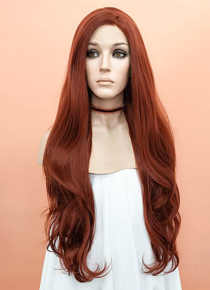 Auburn Wavy Lace Front Synthetic Wig LF147 - Wig Is Fashion