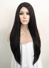 Straight Black Mixed Dark Brown Lace Front Synthetic Wig LF151 - Wig Is Fashion