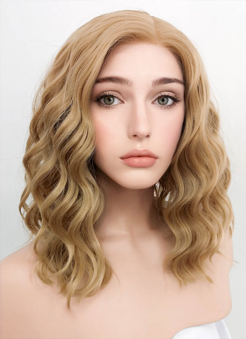 Dark Flaxen Wavy Bob Lace Front Synthetic Wig LF1532
