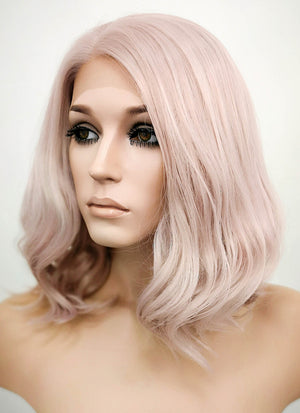 Pastel Pale Plum Wavy Bob Lace Front Synthetic Wig LF1537C - Wig Is Fashion