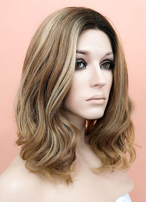 Mixed Brown With Dark Roots Wavy Bob Lace Front Synthetic Wig LF1666 - Wig Is Fashion