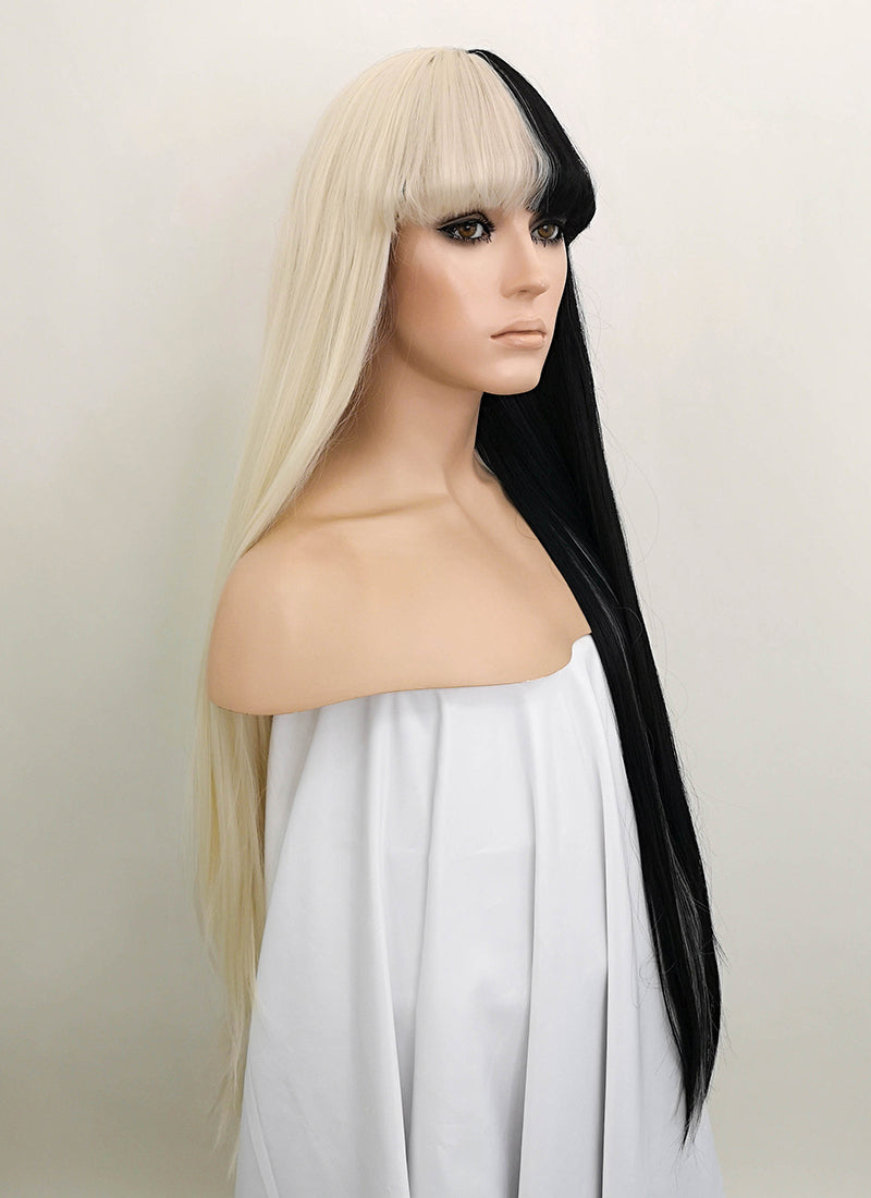 Blonde Black Split Color Straight Lace Front Synthetic Wig LF1507 - Wig Is Fashion