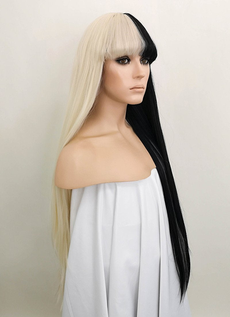 Straight Blonde Black Split Color Lace Wig CLF1507 (Customisable) - Wig Is Fashion