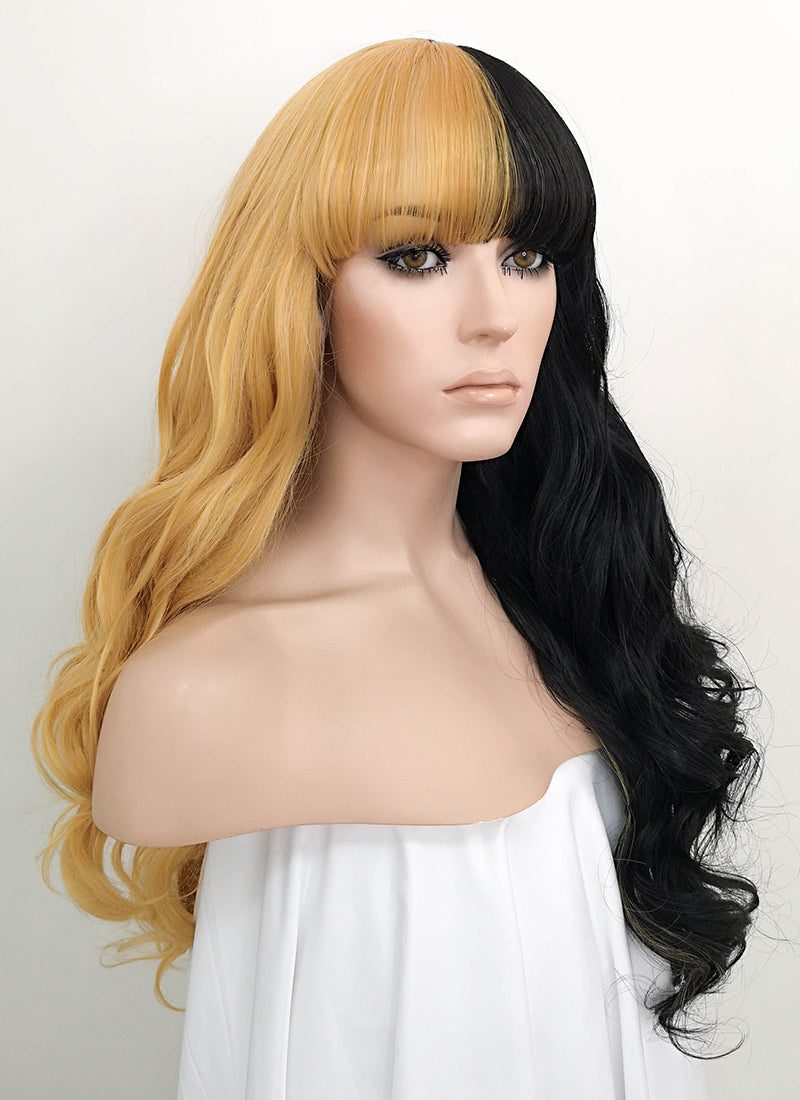 Blonde Black Split Color Wavy Lace Front Synthetic Wig LF1720 - Wig Is Fashion