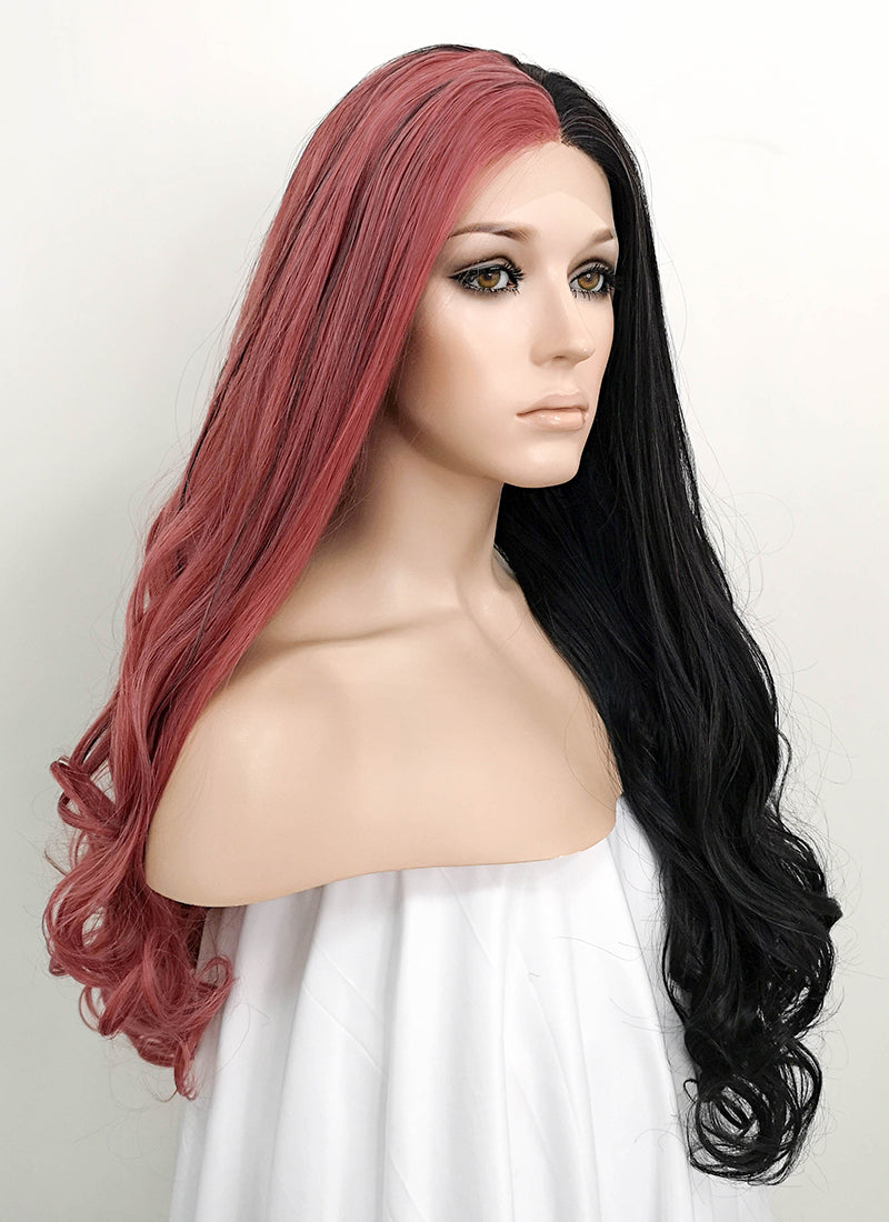 Rose Pink Black Split Color Wavy Lace Front Synthetic Wig LF1729 - Wig Is Fashion