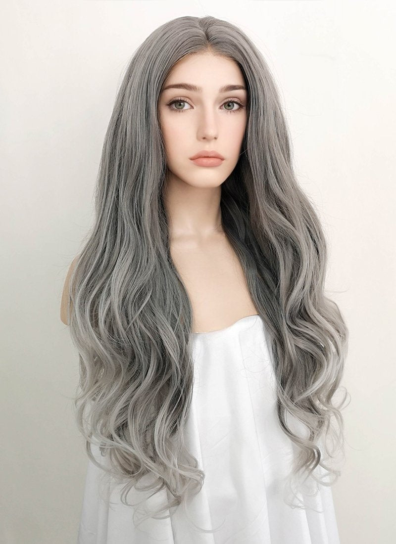 Two Tone Grey Wavy Lace Front Synthetic Wig LF1730 - Wig Is Fashion