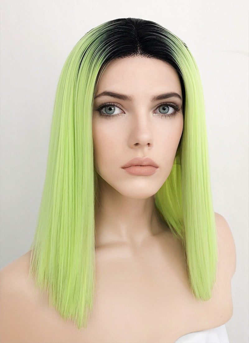 Neon Green With Dark Roots Straight Bob Lace Front Synthetic Wig LF1738 - Wig Is Fashion
