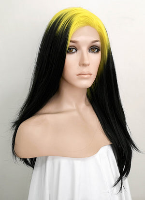 Billie Eilish Black With Neon Yellow Roots Wavy Lace Front Synthetic Wig LF1750