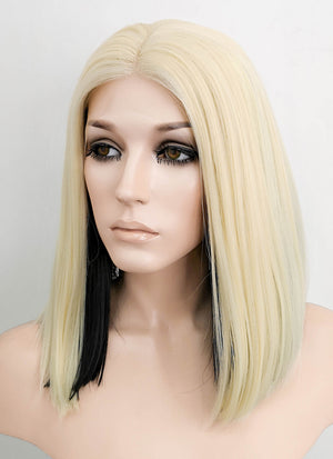 Dua Lipa Blonde Black Two-Tone Straight Lace Front Synthetic Wig LF1755