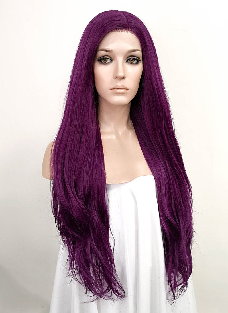 Dark Purple Straight Lace Front Synthetic Wig LF1769