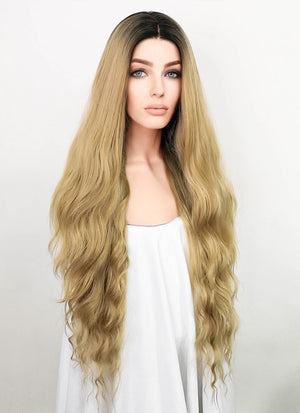 Blonde With Dark Roots Wavy Lace Front Synthetic Wig LF1779