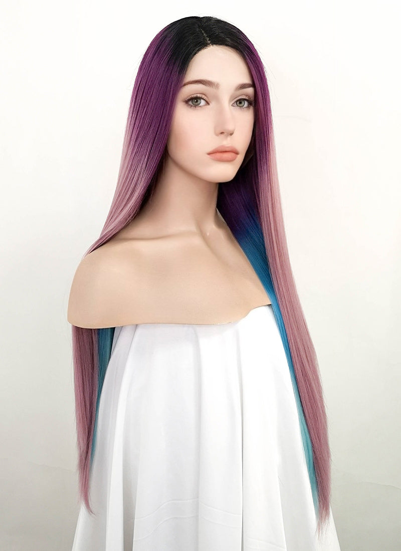 Purple Blue Mixed With Dark Roots Straight Lace Front Synthetic Wig LF1786