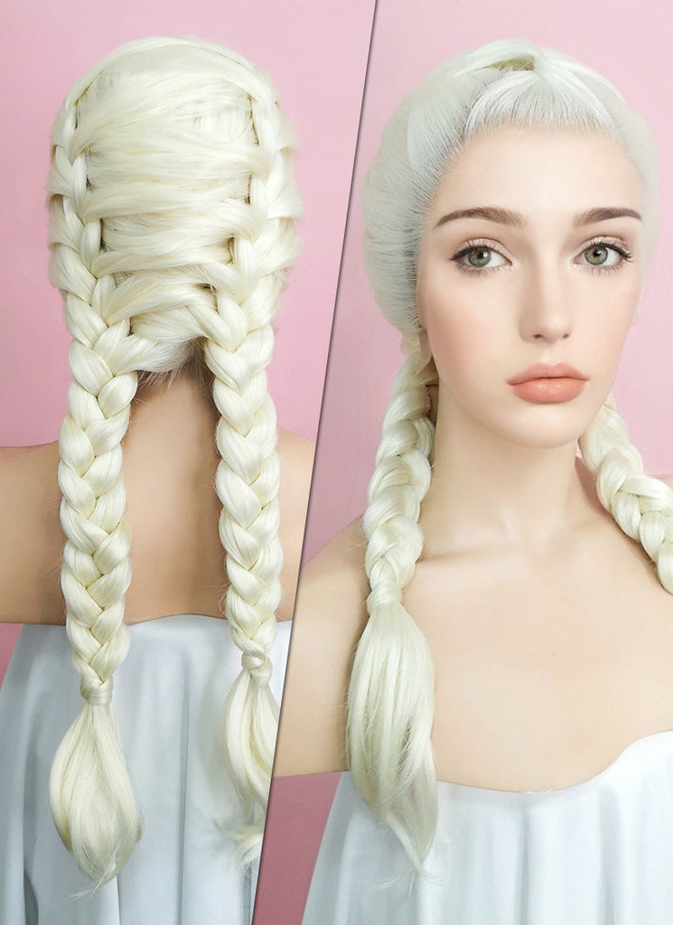 "24"" Long Light Blonde French Braid Lace Front Synthetic Hair Wig LF2002"
