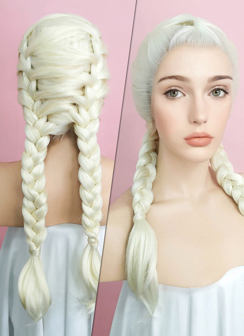 Light Blonde French Braid Lace Front Synthetic Wig LF2002