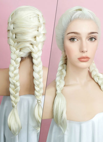 "24"" Blonde With Dark Roots Braided Lace Front Synthetic Wig LF2012"