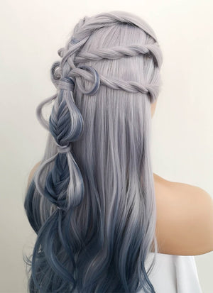 Two Tone Grey Braided Lace Front Synthetic Wig LF2008
