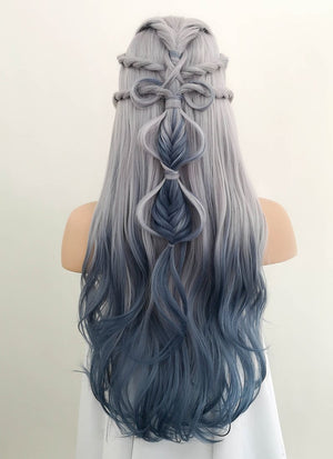 Two Tone Grey Braided Lace Front Synthetic Wig LF2008 - Wig Is Fashion