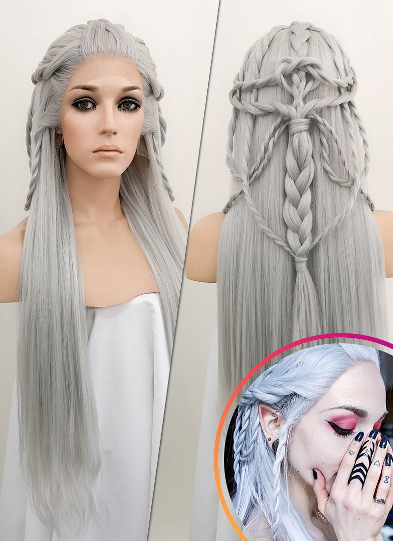 Silver Grey Braided Lace Front Synthetic Wig LF2009 - Wig Is Fashion