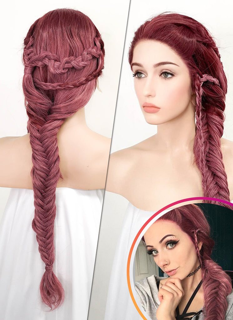 "26"" Two Tone Pinkish Red Fishtail Braid Lace Front Synthetic Wig LF2011 - Wig Is Fashion"