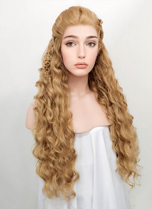 Wavy Golden Blonde Vikings Lagertha Braided Lace Front Synthetic Wig LF2023 - Wig Is Fashion