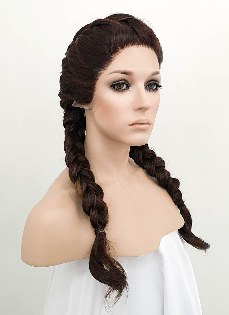 Brunette Braided Lace Front Synthetic Wig LF2048 - Wig Is Fashion