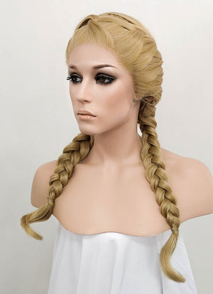 Golden Blonde Braided Lace Front Synthetic Wig LF2049 - Wig Is Fashion