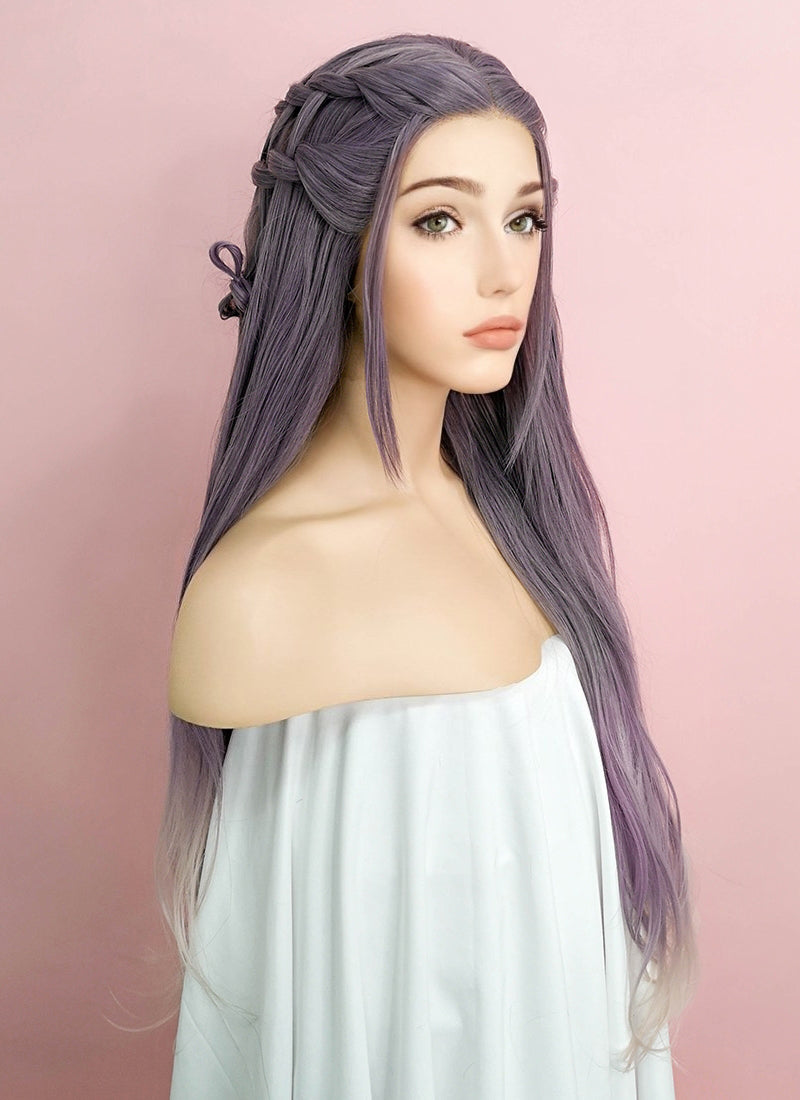 Purple Grey Ombre Braided Lace Front Synthetic Wig LF2052