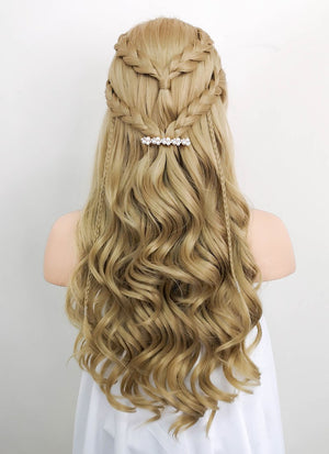 Ash Blonde Braided Lace Front Synthetic Wig LF2054 - Wig Is Fashion