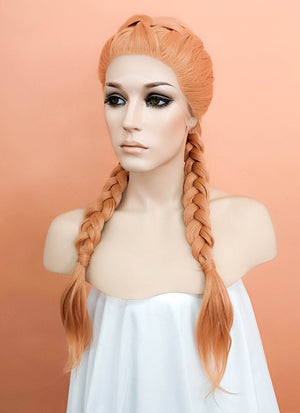 Pastel Peach Pink Braided Lace Front Synthetic Wig LF2059 - Wig Is Fashion