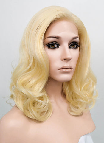 Wavy White Platinum Blonde Lace Front Synthetic Wig LF741B