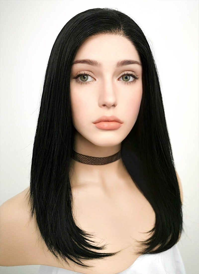 Jet Black Straight Bob Lace Front Synthetic Wig LF262