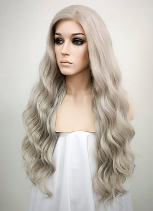 Pastel Mixed Grey Wavy Lace Front Synthetic Wig LF291 - Wig Is Fashion