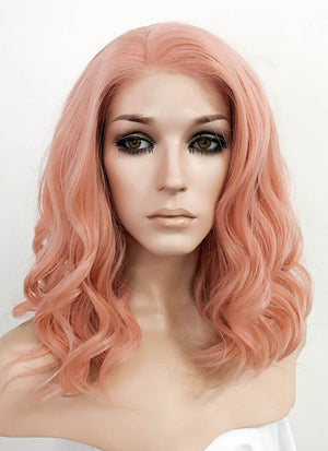 Pastel Peach Pink Wavy Bob Lace Front Synthetic Wig LF3137